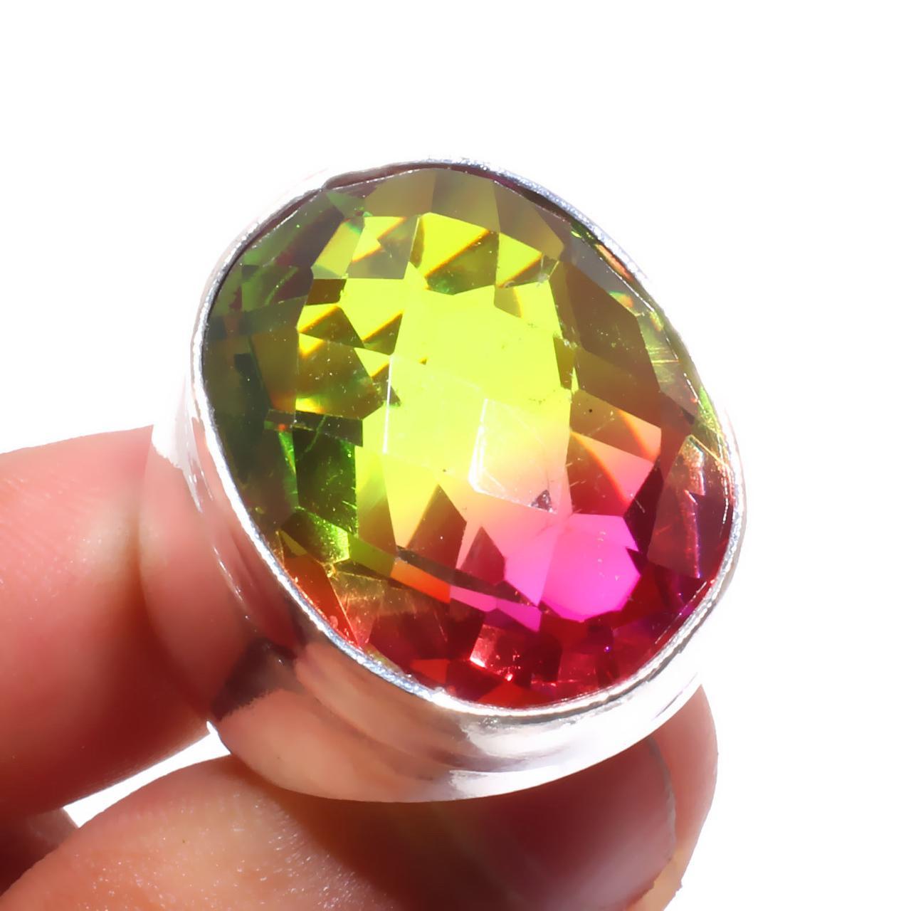 Кварц-топаз кольцо с турмалиновым кварц топазом в серебре 18-18.3 размер Индия