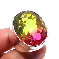Кварц-топаз кольцо с турмалиновым кварц топазом в серебре 18-18.3 размер Индия, фото 1