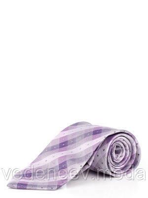 Галстук из микрофибры сиреневого цвета в серо-фиолетовый квадраты из микрофибры