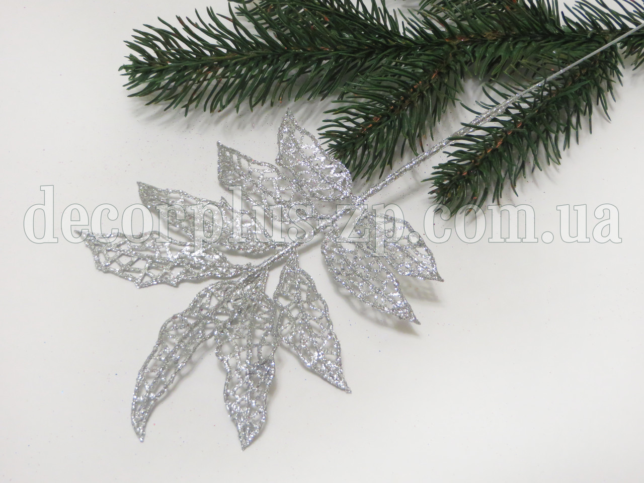 Веточка с листочками, в глиттере , серебро