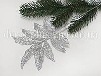 Веточка с листочками, в глиттере , серебро, фото 1