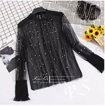 Очень нежная и красивая фатиновая блуза с жемчуженками, размер универсальный S/M, фото 2