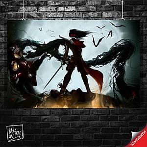 Постер Хеллсинг, Hellsing, аниме. Размер 60x40см (A2). Глянцевая бумага
