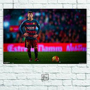 Постер Lionel Messi, Barcelona, футбол, Месси, Барселона. Размер 60x40см (A2). Глянцевая бумага