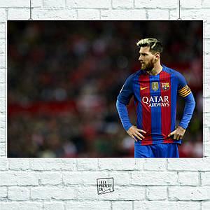 Постер Лионель Месси, Lionel Messi, футболисты клуба Барселона, Barcelona. Размер 60x42см (A2). Глянцевая бумага