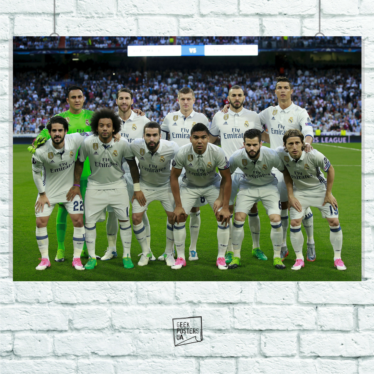 Постер Real Madrid, Реал Мадрид, футболисты, команда. Размер 60x42см (A2). Глянцевая бумага