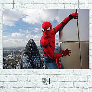 "Постер ""Человек-паук на стене небоскрёба"". Amazing Spider-Man. Размер 60x42см (A2). Глянцевая бумага"