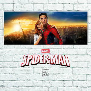 Постер Spider-Man 1, Человек-паук, Спайдермен. Размер 60x24см (A2). Глянцевая бумага