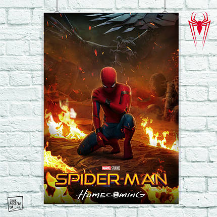 Постер Spider-Man Homecoming, Человек-паук, Спайдермен. Размер 60x42см (A2). Глянцевая бумага, фото 2