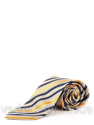 Шелковый галстук в диагональную желто-коричневую полоску
