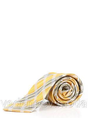 Галстук серый шелковый в оливково-желтую клетку