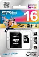MicroSD card Silicon Power 16Gb HC Class 10 SP016GBSTHBU1V10SP + adapter SD