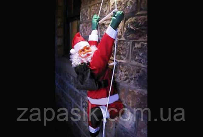 Новогодняя Игрушка Подвесной Санта Клаус с Мешком Лезет по Лестнице 25 см