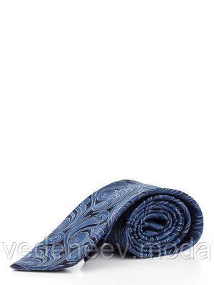 Синий шелковый галстук с абстрактным растительным рисунком