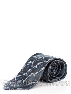 Сірий шовкова краватка з абстрактним рослинним малюнком
