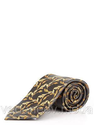 Темно-серый шелковый галстук с желтым абстрактным рисунком