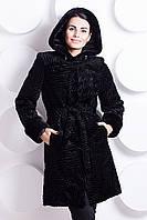 Черная шубка каракуль из искусственного меха, черный каракуль шуба средней длинны с капюшоном, купить шубу
