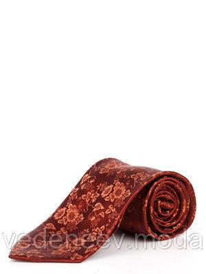 Бордовый шелковый галстук с цветочным притом