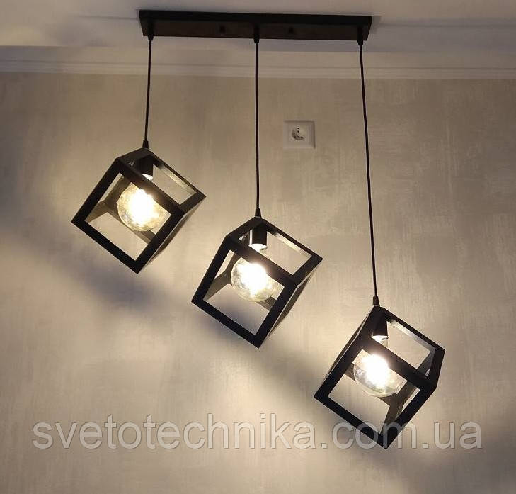 """Подвесной тройнойсветильник в стиле LOFT """"Куб"""" (Коричневый, белый)"""
