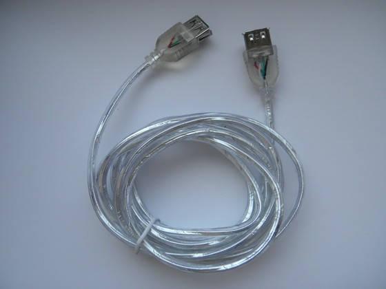 Кабель удлинитель USB прозрачный мама мама 2м., фото 2