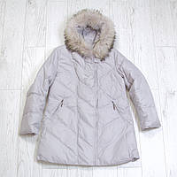 """Женская куртка-пуховик большие размеры 52-56 """"Liliya"""" натуральный мех, наполнитель пух+перо"""