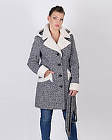 Пальто зимнее твид овчина,  белый 42 - 50р, фото 1