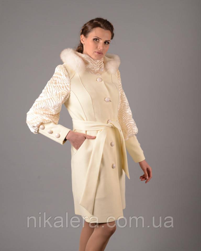 Зимнее пальто с меховыми рукавами рр 44-52  продажа 035a1d26c68f4