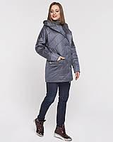 Стильная куртка из атласа с капюшоном рр 44-56