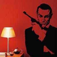 Вінілова інтер'єрна наклейка на шпалери Джеймс Бонд (самоклейка вініл оракал) матова 500х800 мм, фото 1