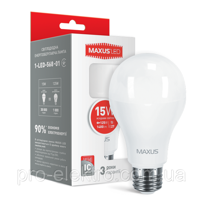 LED-лампа MAXUS A70 15W яркий свет E27 (1-LED-568-01)
