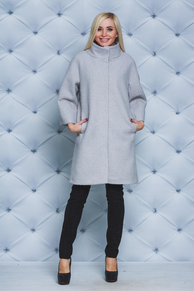 Пальто женское демисезонное букле серое