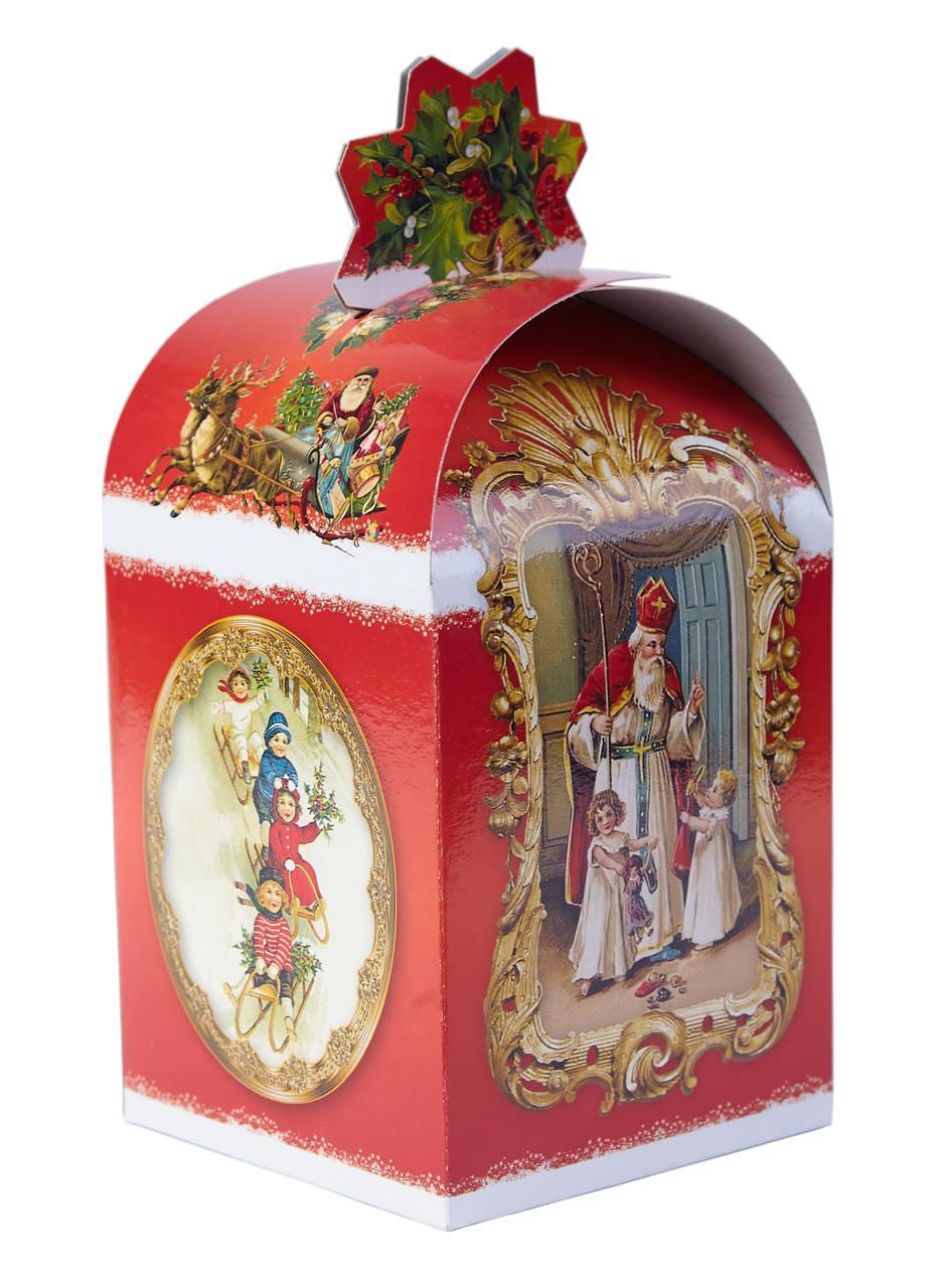 Картонная упаковка для конфет Сундук Св. Миколай на вес до 700г, от 1 штуки
