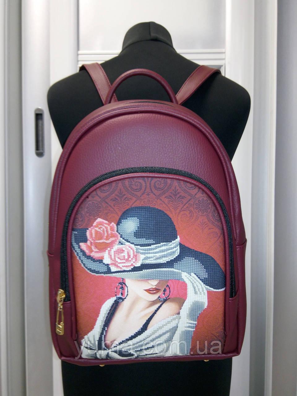 Сумка-рюкзак для вышивки бисером   Рюкзак Модель 2 С7 бордо  кожзам