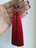 Серьги с кистями Рубиновый красный