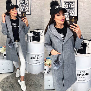 Женское пальто, цвет - Серый (103)478-3. (3 цвета) Размеры: 42,44,46. Ткань: кашемир, фото 2