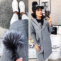 Женское пальто, цвет - Серый (103)478-3. (3 цвета) Размеры: 42,44,46. Ткань: кашемир, фото 3