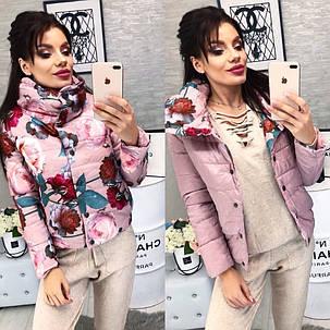 Женская Куртка двусторонняя, цвет - Розы с пудрой (2 цвета) Размеры: 42, 44, 46 Наполнитель: холофайбер, фото 2