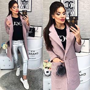 Женское Пальто, цвет - Пудра (103)474 -2. (2 цвета) Размеры: 42,44,46. Ткань: букле, фото 2