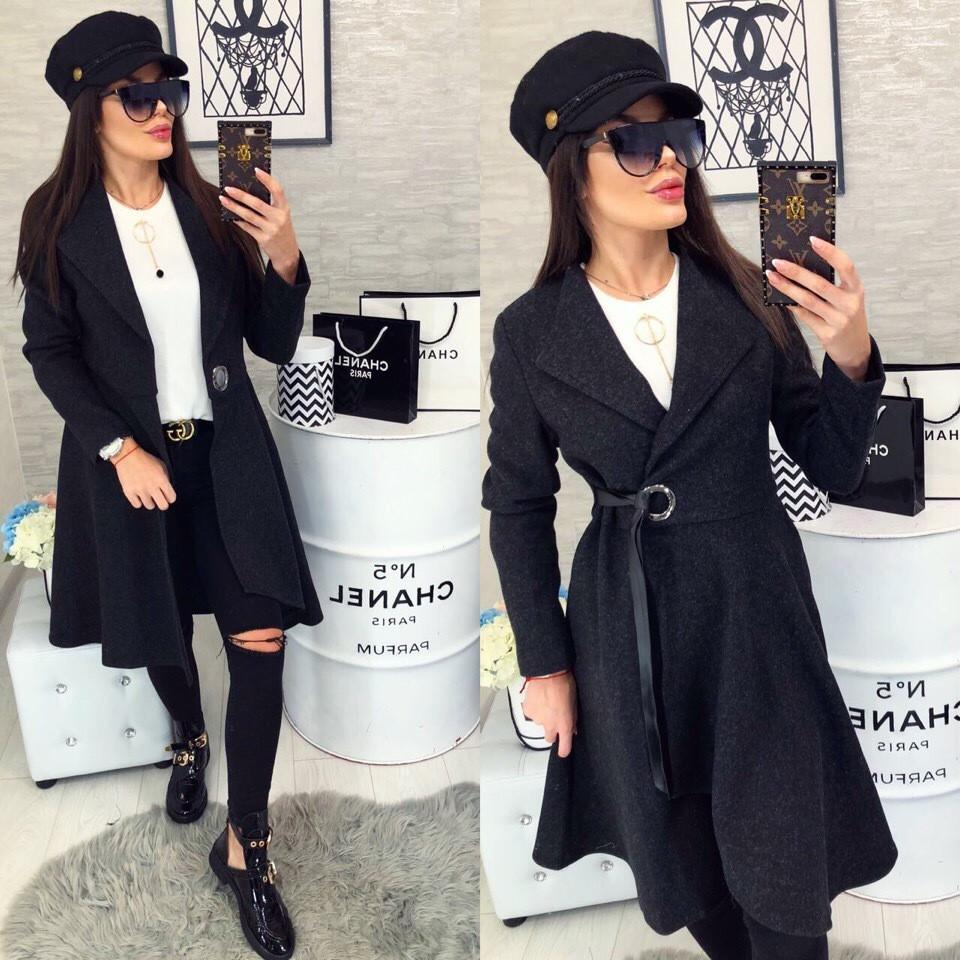 Женское пальто, цвет - Чёрный (103)471 - 1. (2 цвета) Размеры: 42, 44, 46.Ткань: кашемир