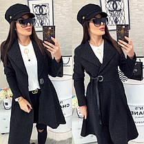Женское пальто, цвет - Чёрный (103)471 - 1. (2 цвета) Размеры: 42, 44, 46.Ткань: кашемир, фото 3