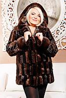 Искусственная норковая шуба коричневая,норковая шуба цвета коричневого паркета с капюшоном,купить шубу женскую