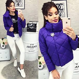 Женская куртка, цвет - Фиолетовый (103)455-5. (7 цветов) Размеры: 42 ,44, 46. Наполнитель: холофайбер, фото 2