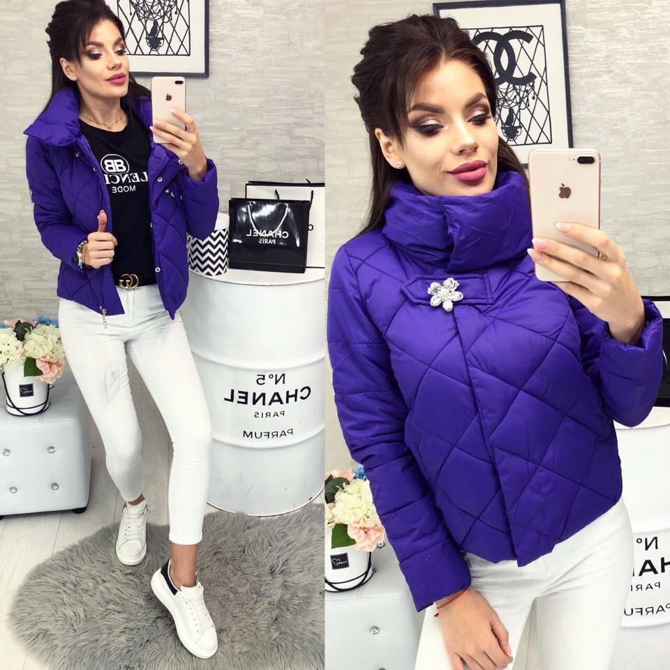 Женская куртка, цвет - Фиолетовый (103)455-5. (7 цветов) Размеры: 42 ,44, 46. Наполнитель: холофайбер