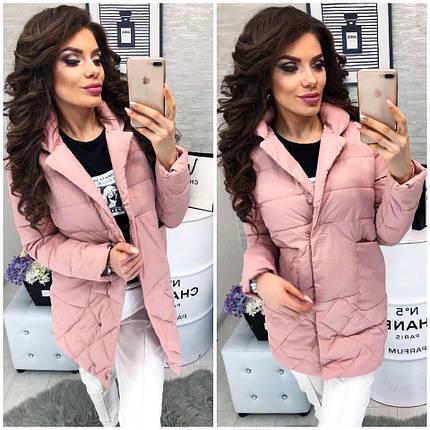Женская куртка, цвет - Розовый (103)342-1. (3 цвета) Размеры: 42, 44, 46.Наполнитель: холофайбер., фото 2