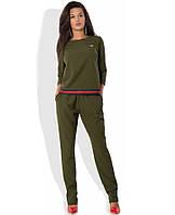 Женский костюм кофта и брюки цвета хаки КТ-270