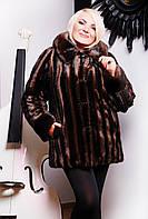 Искусственная норковая шуба коричневая,норковая шуба коричневая полоска с капюшоном,купить женскую шубу