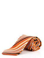 Галстук шелковый в диагональную оранжево-серую полоску