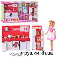 Кукла Defa 8085 с кухонным гарнитуром и холодильником, розовый наряд