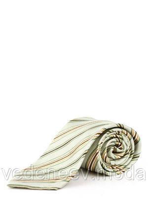 Шелковый светлый галстук в диагональную цветную полоску