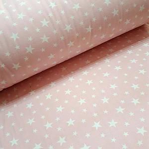 Фланелевая ткань белые звезды на розовом (шир. 2,4 м)